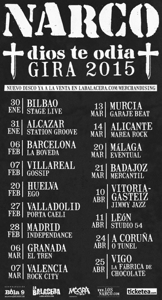 Narco - Dios te odia Gira 2015
