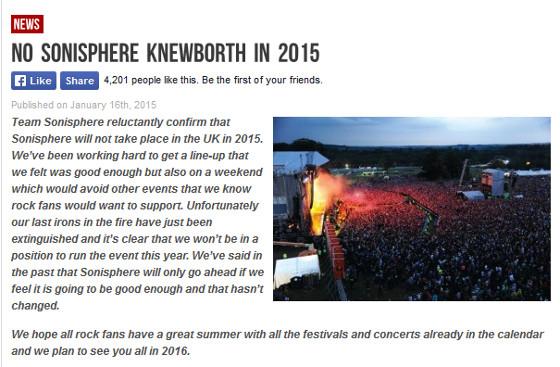 UK 2015 Sonisphere Cancelled
