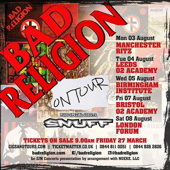Bad Religion UK Tour - Aug 2015