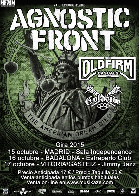 Oct 2015 - Agnostic Front - Old Firm Casuals - Coldslide - HFMN Crew