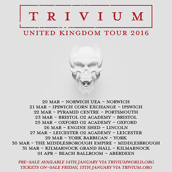 Trivium - UK Tour - March 2016